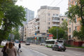 Lower Presnya residential building, people and cars in Moscow 1