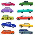 Lowrider tech car retro vintage, old, auto flat style set isolated on white vector illustration.