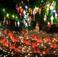 Loy krathong festival at wat phan tao in chiang mai province of thailand Stock Photo