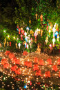 Loy krathong festival at wat phan tao in chiang mai province of thailand Royalty Free Stock Photography