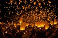 Loy krathong and yi peng festival chiangmai thailand october people lift the sky landterns in on october chiangmai thailand Stock Image