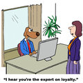 Loyalty cartoon of businesswoman saying to business dog i hear you are the expert on Royalty Free Stock Photo