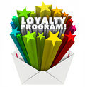 Loyalty program envelope invitation marketing advertising mailer d words in colorful stars shooting out of an inviting you to Stock Photos