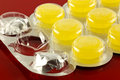 Lozenges a closeup of yellow throat in a blister pack Stock Images