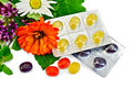 Lozenges cough multicolored with herbs Stock Image