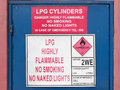 LPG highly inflammable sign Stock Photos