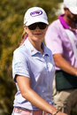 Lpga professional golfer paula creamer smiles at crowd as she passes by on the fairway at the founders cup in phoenix arizona usa Royalty Free Stock Photo