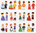 Lttle kids children couples character of world dress girls and boys in different traditional national costumes and cute