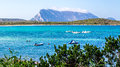 Lu impustu beach in Sardinia with Tavolara island Royalty Free Stock Photo