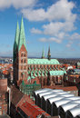 Lubeck aerial view on the old center of schleswig holstein germany with the church of saint mary Stock Image