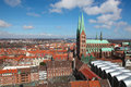 Lubeck aerial view on the old center of schleswig holstein germany with the church of saint mary Royalty Free Stock Photo