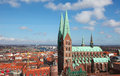 Lubeck aerial view on the old center of schleswig holstein germany with the church of saint mary Royalty Free Stock Images