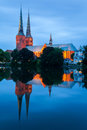 Lubeck cathedral germany view of the and trave river Stock Image