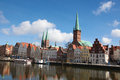 Lubeck center of schleswig holstein germany at the river trave Royalty Free Stock Image