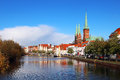 Lubeck old town germany historic buildings reflected in trave river of Stock Photography