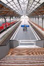Lubeck railway station germany november empty platform of hauptbahnhof main Stock Photo
