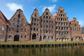 Lubeck the salzspeicher salt storehouses of lübeck germany are historic brick buildings on the upper trave river next to the Stock Image
