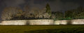 Lucca city walls and trees. Panoramic night view. Tuscany, Italy Stock Photos