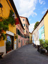 Lucca street with restaurants in italy Stock Images