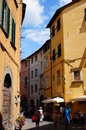 Lucca street view people on a in italy Stock Photos