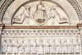 Lucca (Tuscany) - Detail of the Cathedral facade Royalty Free Stock Photo