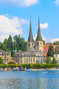 Lucerne city view with river reuss and court church of st leodegar switzerland Stock Photo