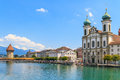 Lucerne city view with river reuss and jesuit church switzerland Stock Photos