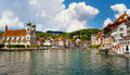 Lucerne switzerland river reuss and jesuit church Royalty Free Stock Image