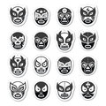 Lucha libre luchador mexican wrestling black masks icons vector set of worn during fights in mexico isolated on white Royalty Free Stock Image