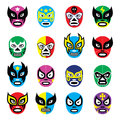 Lucha libre luchador mexican wrestling masks vector icons set of worn during fights in mexico isolated on white Royalty Free Stock Photos