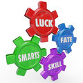 Luck fate skill smarts four essential factors success and words on gears turning together to achieve to illustrate in work career Royalty Free Stock Photography