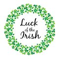 Luck of the Irish in shamrock circle frame