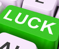 Luck key shows fate or fortunate showing lucky destiny Royalty Free Stock Image