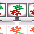 Luck skill puzzle screen means competent or fortunate meaning Royalty Free Stock Image