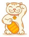 Lucky cat illustration of traditional asian Stock Images