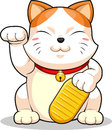 Lucky cat makeni neko a vector image of asian drawn in cartoon style this vector is very good for design that needs oriental Royalty Free Stock Photo
