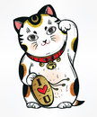 Lucky cat vector illustration. Royalty Free Stock Photo