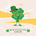 Lucky clover laughing under the golden coins Royalty Free Stock Photo