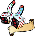 Lucky dice with horseshoe tattoo Royalty Free Stock Photo