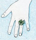 Lucky four leaf clover ring Royalty Free Stock Photo