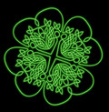 Lucky four leaf neon shamrock Stock Image