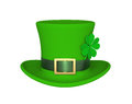 Lucky green hat with clover for Saint Patricks Day, isolated Royalty Free Stock Photo