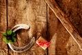Lucky horseshoe, shamrock and gift