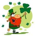 Lucky Leprechaun Holding Up A Shamrock