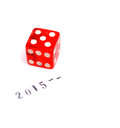 Lucky new year picture of a with rubber stamp and red dice Stock Photo