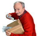 Lucky old man holding box with dollar bills on a white background Royalty Free Stock Image