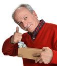 Lucky old man holding box with dollar bills on a white background Stock Photos