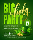 Lucky Party Poster. St. Patricks Day. Vector illustration Royalty Free Stock Photo