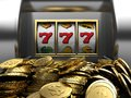 Lucky seven and golden coins d illustrations of slot machine win line prize Stock Images