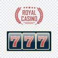 Lucky seven jackpot. Casino sign set Royalty Free Stock Photo